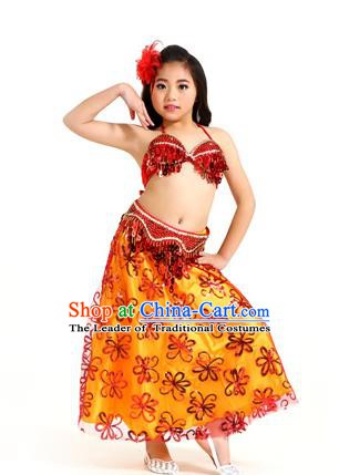 Traditional Indian Children Belly Dance Red Dress Raks Sharki Oriental Dance Clothing for Kids
