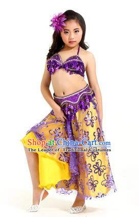 Traditional Indian Children Belly Dance Purple Dress Raks Sharki Oriental Dance Clothing for Kids