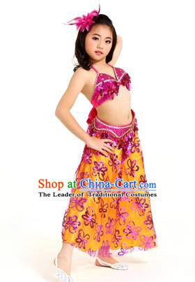 Traditional Indian Children Belly Dance Rosy Dress Raks Sharki Oriental Dance Clothing for Kids