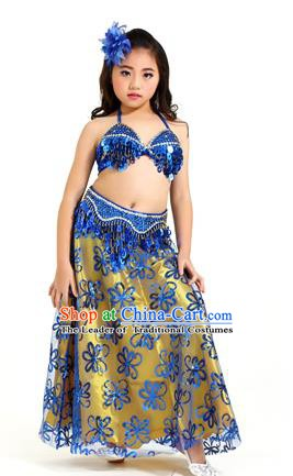 Traditional Indian Children Belly Dance Royalblue Dress Raks Sharki Oriental Dance Clothing for Kids