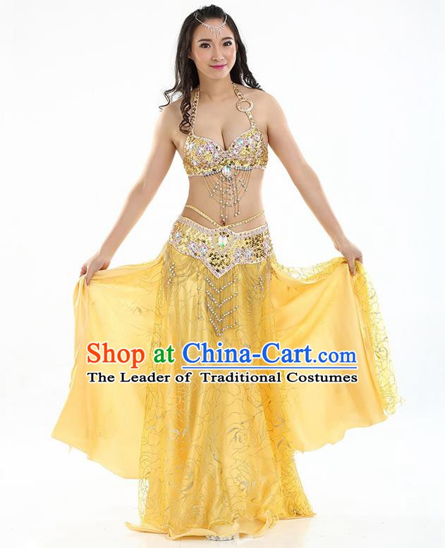 Top Grade Bollywood Belly Dance Yellow Dress Indian Raks Sharki Oriental Dance Clothing for Women