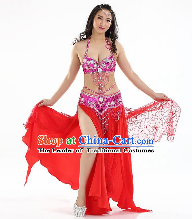Top Grade Bollywood Belly Dance Red Dress Indian Raks Sharki Oriental Dance Clothing for Women