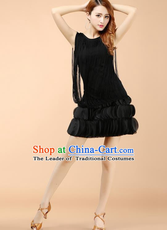 Top Grade Latin Dance Black Dress Ballroom Dance Modern Dance Clothing for Women