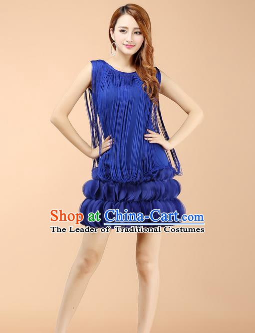 Top Grade Latin Dance Royalblue Dress Ballroom Dance Modern Dance Clothing for Women