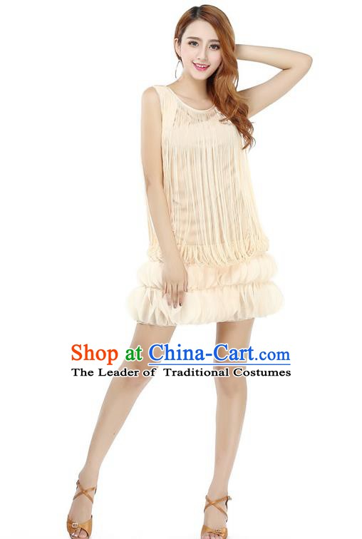 Top Grade Latin Dance Beige Dress Ballroom Dance Modern Dance Clothing for Women
