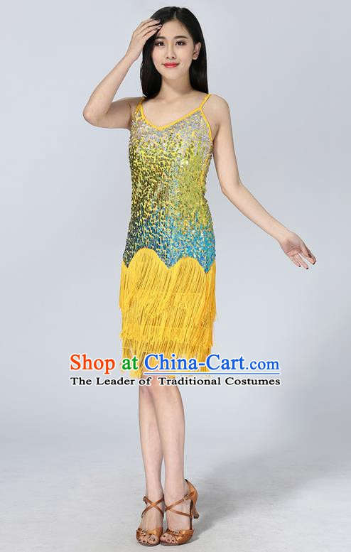 Professional Latin Dance Sequin Yellow Dress Ballroom Dance Modern Dance Clothing for Women