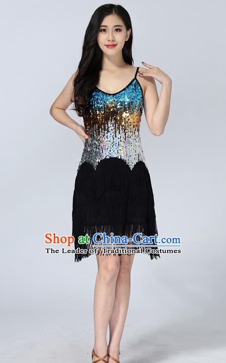 Professional Latin Dance Sequin Black Dress Ballroom Dance Modern Dance Clothing for Women
