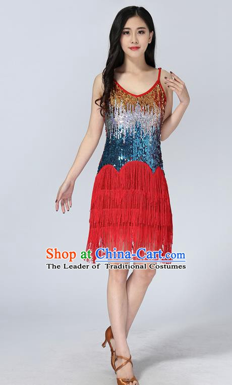 Professional Latin Dance Sequin Red Dress Ballroom Dance Modern Dance Clothing for Women