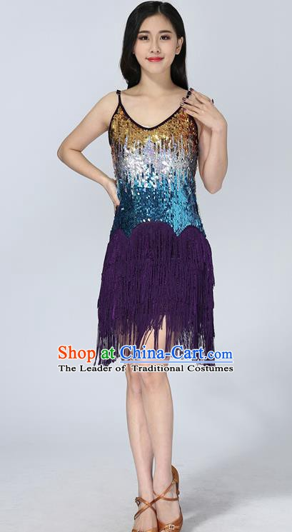 Professional Latin Dance Sequin Purple Dress Ballroom Dance Modern Dance Clothing for Women