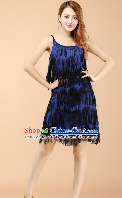 Professional Latin Dance Blue Tassel Dress Ballroom Dance Modern Dance Clothing for Women