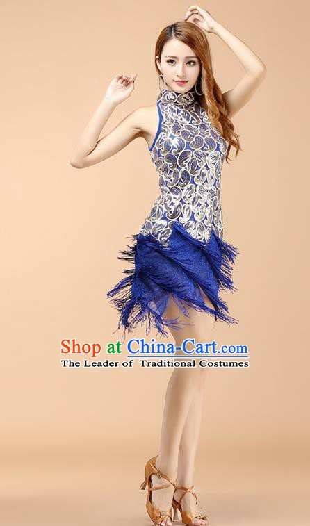Classical Latin Dance Blue Tassel Dress Ballroom Dance Modern Dance Costume for Women