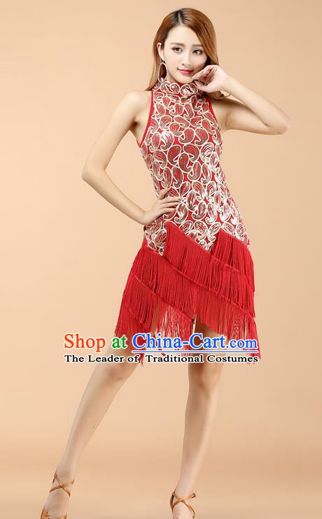Classical Latin Dance Red Tassel Dress Ballroom Dance Modern Dance Costume for Women