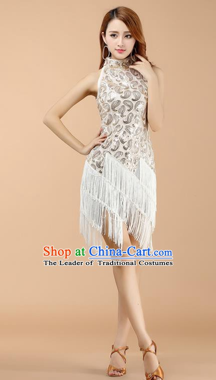 Classical Latin Dance White Tassel Dress Ballroom Dance Modern Dance Costume for Women