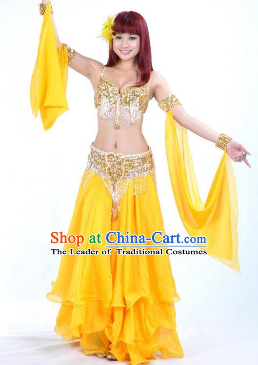 Traditional Bollywood Belly Dance Yellow Dress Indian Oriental Dance Costume for Women