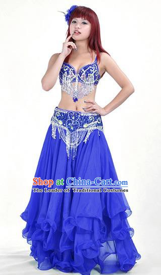 Traditional Bollywood Belly Dance Blue Dress Indian Oriental Dance Costume for Women