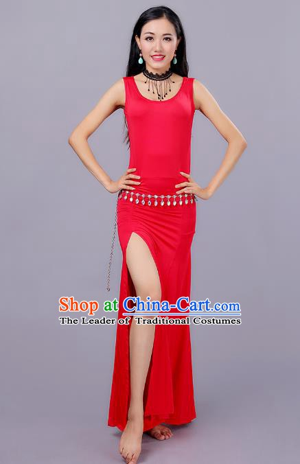 Traditional Belly Dance Training Red Dress Indian Oriental Dance Costume for Women