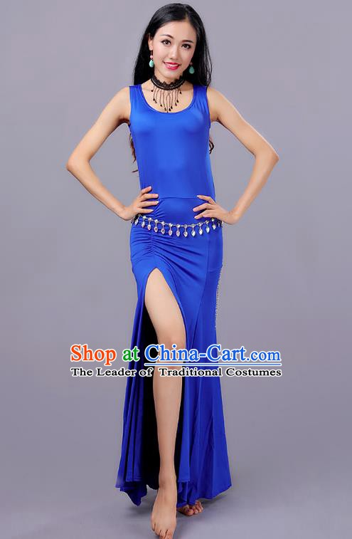 Traditional Belly Dance Training Blue Dress Indian Oriental Dance Costume for Women