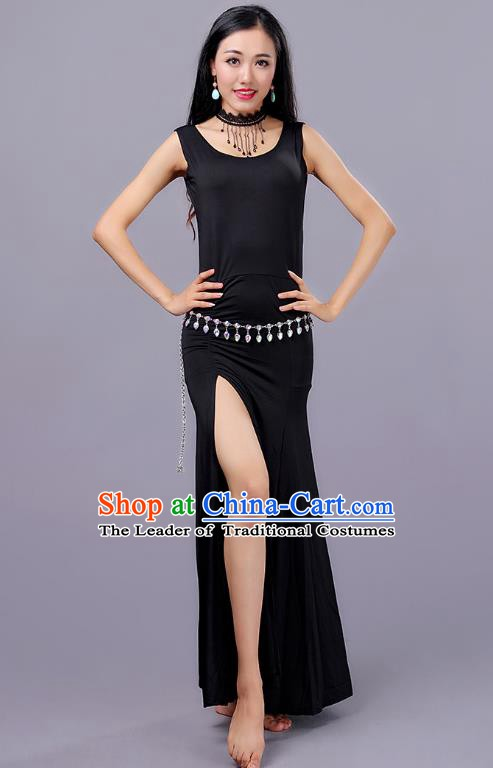 Traditional Belly Dance Training Black Dress Indian Oriental Dance Costume for Women