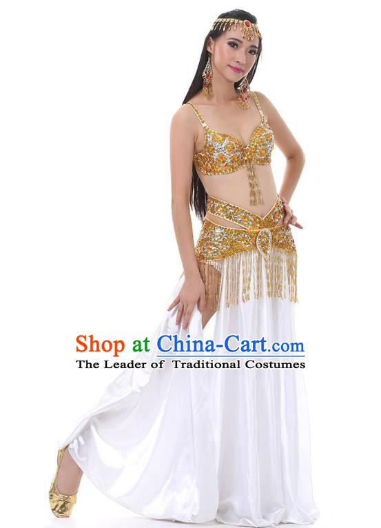 Traditional Bollywood Belly Dance Sexy White Dress Indian Oriental Dance Costume for Women