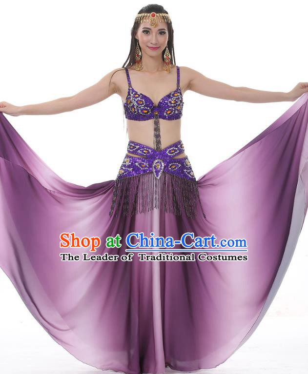 Traditional Bollywood Belly Dance Gradient Purple Dress Indian Oriental Dance Costume for Women