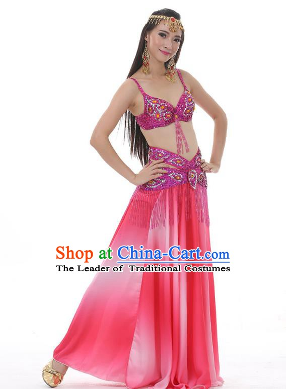 Traditional Bollywood Belly Dance Gradient Rosy Dress Indian Oriental Dance Costume for Women