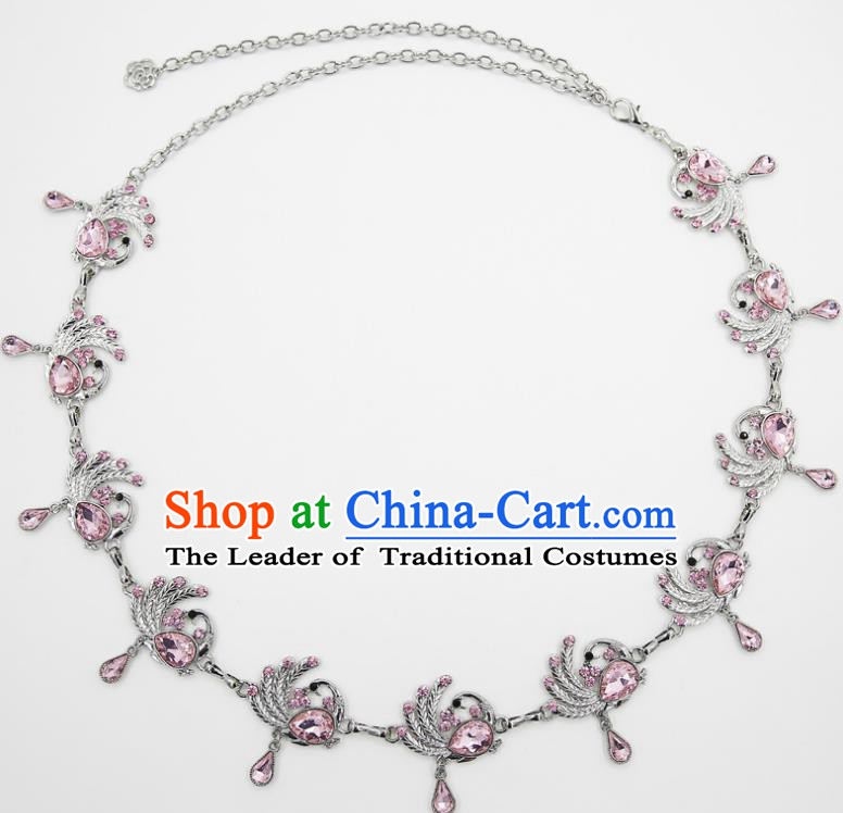 Indian Belly Dance Pink Crystal Peacock Waist Chain Accessories Waistband India Raks Sharki Belts for Women