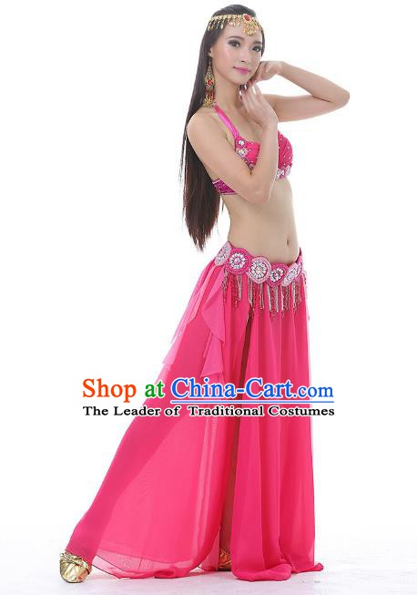 Traditional Bollywood Belly Dance Clothing Indian Oriental Dance Rosy Dress for Women