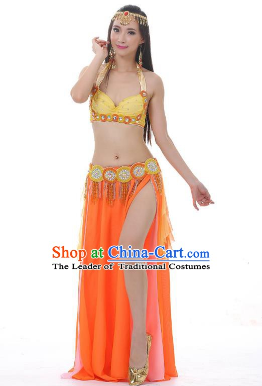 Traditional Bollywood Belly Dance Clothing Indian Oriental Dance Orange Dress for Women