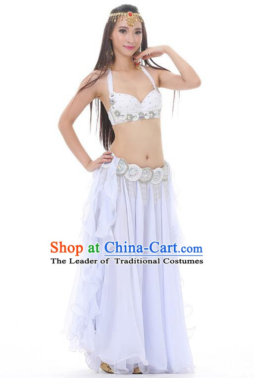 Traditional Bollywood Belly Dance Clothing Indian Oriental Dance White Dress for Women