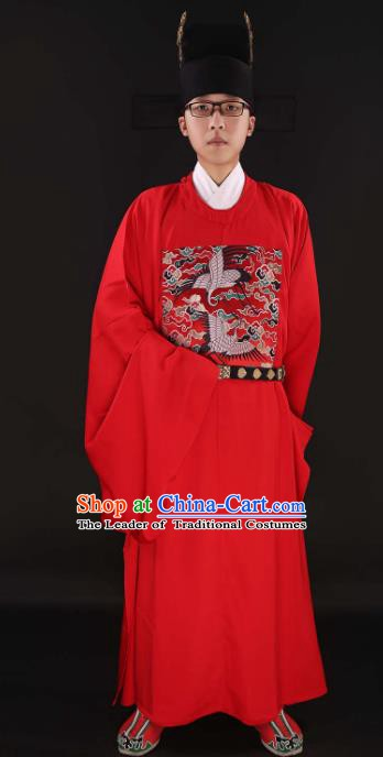 Asian Chinese Ancient Crane Bufu Costume Ming Dynasty Chancellor Clothing for Men