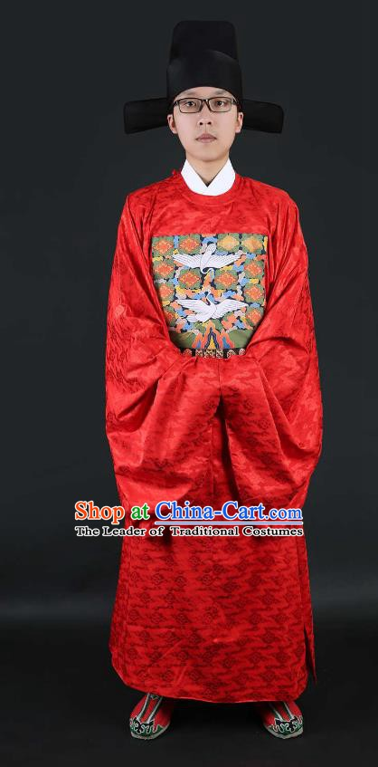 Chinese Ancient Ming Dynasty Lang Scholar Wedding Costume Red Robe for Men