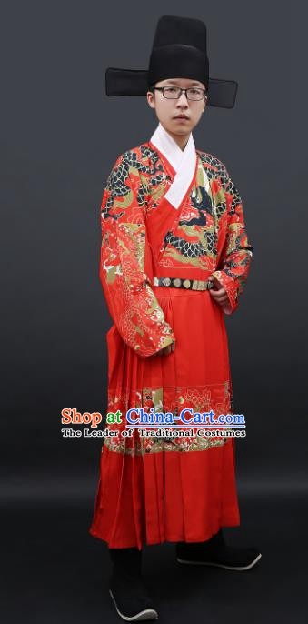Chinese Ancient Ming Dynasty Imperial Bodyguard Costume Swordsman Hanfu Clothing for Men
