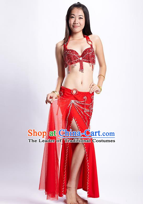 Top Grade Performance Clothing Belly Dance Red Dress Indian Oriental Dance Costume for Women