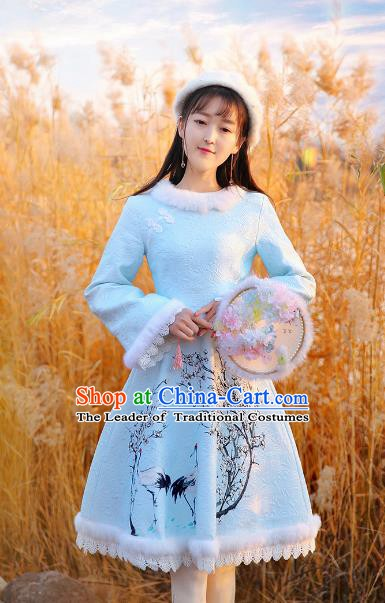 Traditional Chinese National Blue Dress Tangsuit Cheongsam Clothing for Women