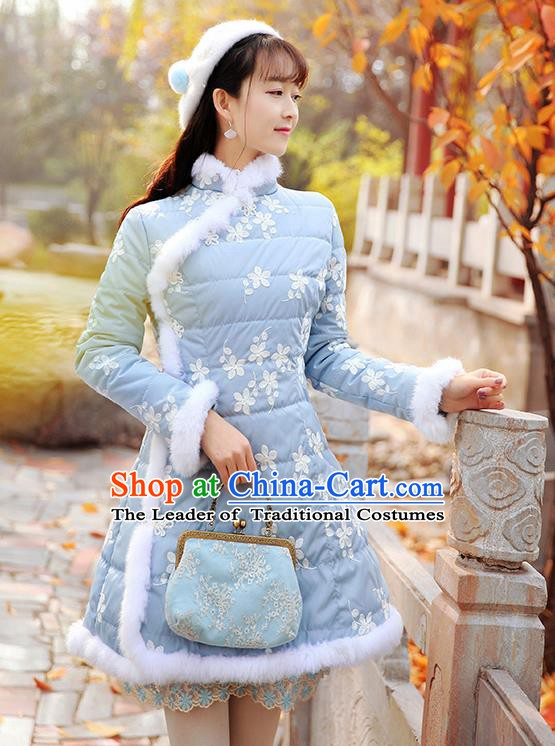 Traditional Chinese National Embroidered Blue Dress Tangsuit Cotton-padded Cheongsam Clothing for Women