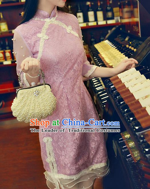 Traditional Chinese National Purple Lace Dress Tangsuit Cheongsam Clothing for Women