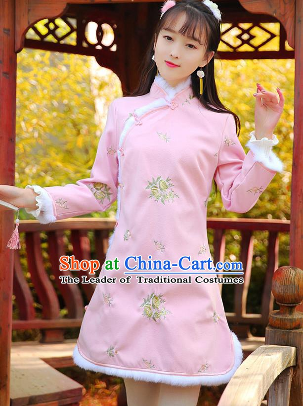 Traditional Chinese National Pink Dress Tangsuit Embroidered Cheongsam Clothing for Women