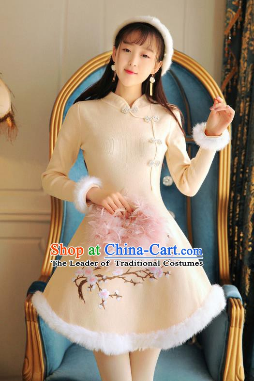 Traditional Chinese National Embroidered Plum Blossom Qipao Dress Tangsuit Cheongsam Clothing for Women