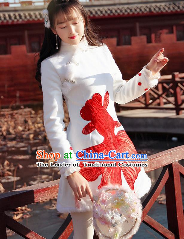 Traditional Chinese National Tangsuit Red Goldfish Qipao Dress Cheongsam Clothing for Women