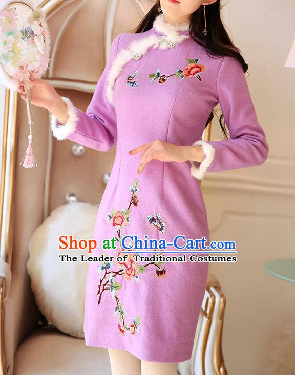 Traditional Chinese National Tangsuit Embroidered Purple Qipao Dress Cheongsam Clothing for Women
