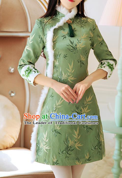 Chinese National Tangsuit Embroidered Bamboo Qipao Dress Cheongsam Clothing for Women