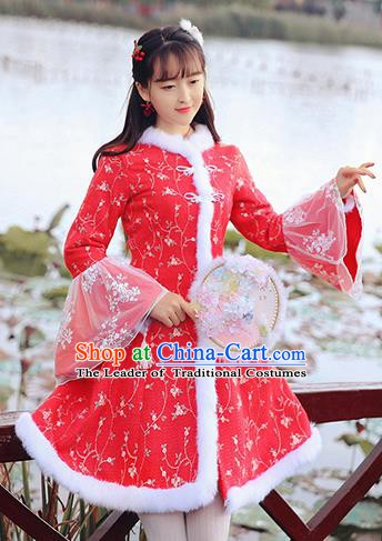 Chinese National Tangsuit Embroidered Red Qipao Dress Cheongsam Clothing for Women
