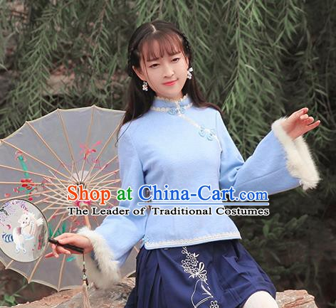 Chinese National Costume Blue Wool Cheongsam Shirts Tangsuit Qipao Blouse for Women