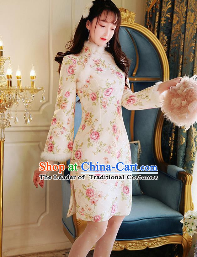 Chinese National Tangsuit Printing Rose Qipao Dress Cheongsam Clothing for Women