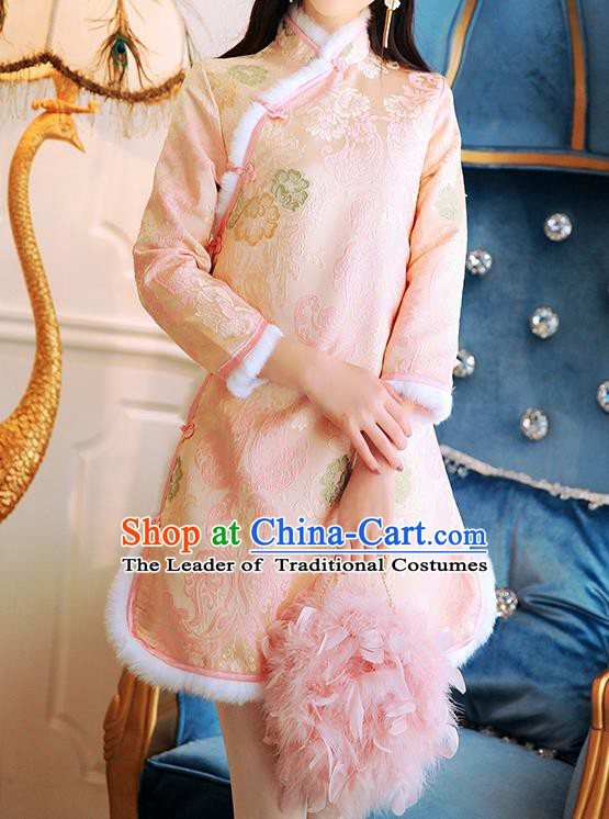 Traditional Chinese National Cotton-padded Dress Tangsuit Embroidered Cheongsam Clothing for Women