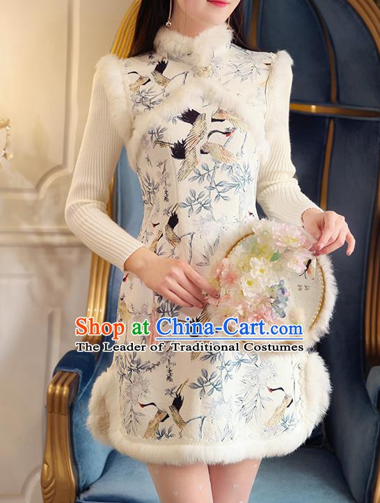 Chinese National Tangsuit Printing Crane Qipao Dress Cheongsam Vests Clothing for Women