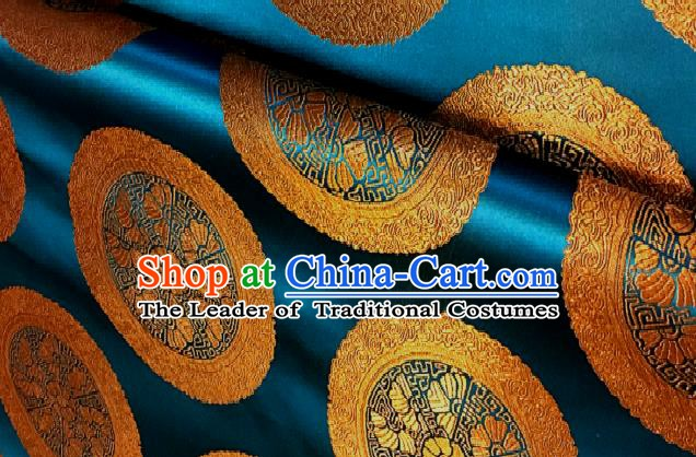 Chinese Traditional Fabric Palace Pattern Design Blue Brocade Chinese Mongolian Robe Fabric Asian Material