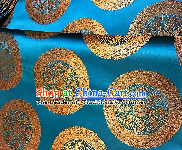 Chinese Traditional Fabric Palace Pattern Design Lake Blue Brocade Chinese Mongolian Robe Fabric Asian Material