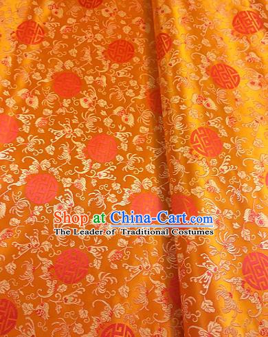 Chinese Traditional Mongolian Robe Fabric Palace Pattern Design Orange Brocade Chinese Fabric Asian Material