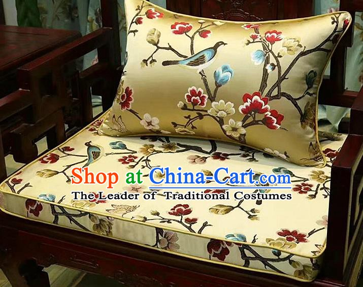 Chinese Traditional Fabric Flowers Birds Pattern Yellow Brocade Chinese Fabric Asian Tibetan Robe Material